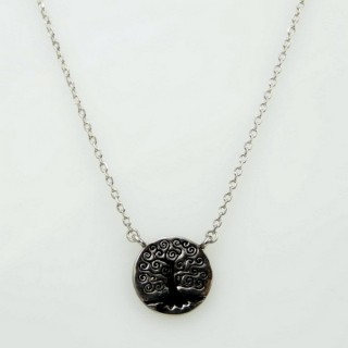 30444 RHODIUM PLATED SILVER TREE OF LIFE 44 CM NECKLACE