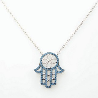 30464 RHODIUM PLATED SILVER & CZ HAMSA 44 CM NECKLACE