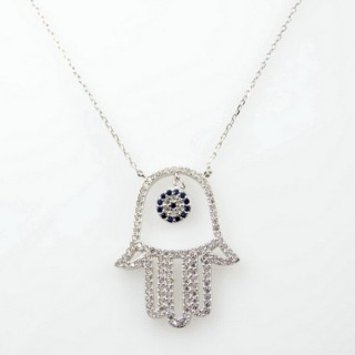 30467 RHODIUM PLATED SILVER & CZ HAMSA 44 CM NECKLACE