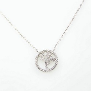 30462 RHODIUM PLATED SILVER & CZ TREE OF LIFE 44 CM NECKLACE