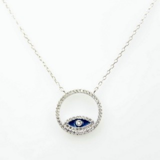 30446 RHODIUM PLATED SILVER & CZ TURKISH EYE 44 CM NECKLACE