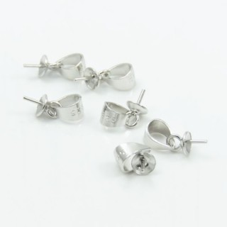 30881 PACK OF 10 PCS OF SILVER 4 MM PENDANT HOOKS