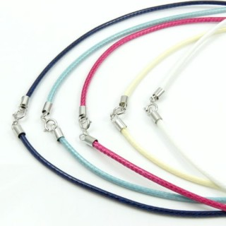 30848-05 PACK OF 5 WAX CORDS WITH SILVER CLASP 40 CM