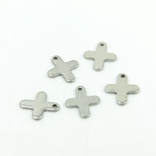 26287-11 PACK OF 10 CROSS SHAPED 12 MM STEEL CHARMS