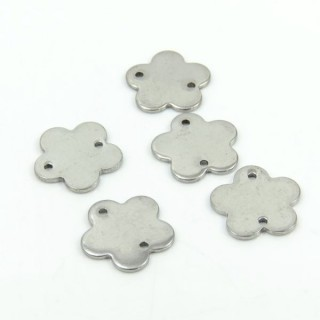 26287-08 PACK OF 10 FLOWER SHAPED 14 MM STEEL CHARMS
