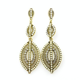 26128-145 METAL EARRINGS WITH PLASTIC & GLASS