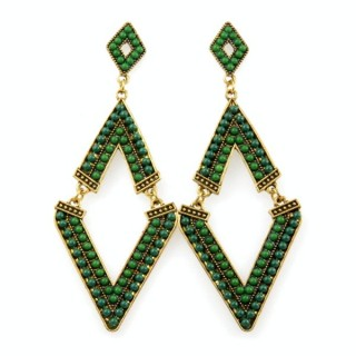 26128-147 METAL EARRINGS WITH PLASTIC & GLASS