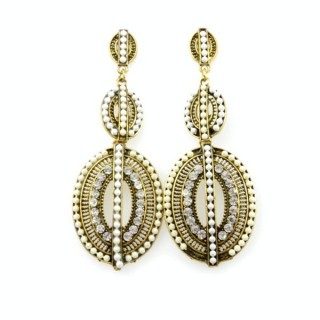 26128-161 METAL EARRINGS WITH PLASTIC & GLASS