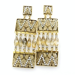 26128-183 METAL EARRINGS WITH PLASTIC & GLASS