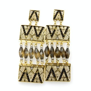 26128-186 METAL EARRINGS WITH PLASTIC & GLASS