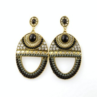 26128-192 METAL EARRINGS WITH PLASTIC & GLASS