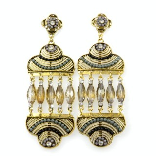 26128-215 METAL EARRINGS WITH PLASTIC & GLASS