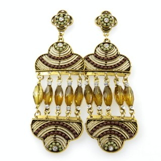 26128-216 METAL EARRINGS WITH PLASTIC & GLASS