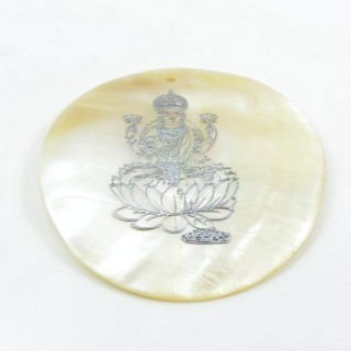 29169-20 ROUND 50 MM SHELL PENDANT WITH LAKSHMI