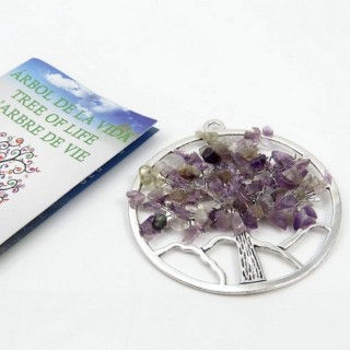 30827-01 METAL 57 MM TREE OF LIFE PENDANT WITH AMETHYST