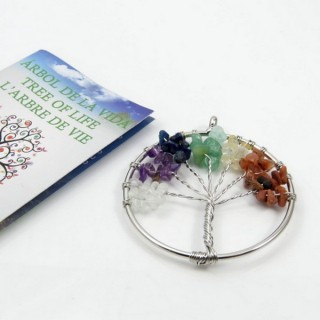 30828-01 METAL 52 MM TREE OF LIFE PENDANT WITH 7 CHAKRA STONES