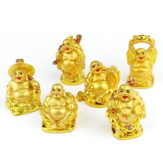 30824-03 SET OF 6 RESIN LAUGHING BUDDHA OF APROX. 5 CM