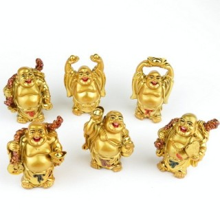 30825-01 SET OF 6 RESIN LAUGHING BUDDHA OF APROX. 6 CM