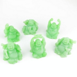 30825-04 SET OF 6 RESIN LAUGHING BUDDHA OF APROX. 6 CM