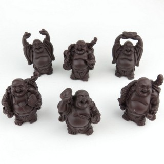 30825-07 SET OF 6 RESIN LAUGHING BUDDHA OF APROX. 6 CM