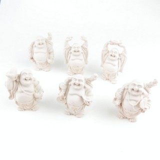 30825-11 SET OF 6 RESIN LAUGHING BUDDHA OF APROX. 6 CM