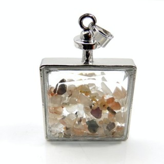 30425-12 METAL & GLASS 50 X 33 MM PENDANT WITH ASSORTED STONES