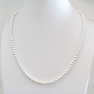 24881 SILVER 4 MM BALL 40 CM NECKLACE WITH 5 CM EXT.