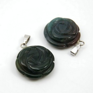 30697-10 PACK OF 2 FLOWER PENDANTS IN INDIAN AGATE STONE