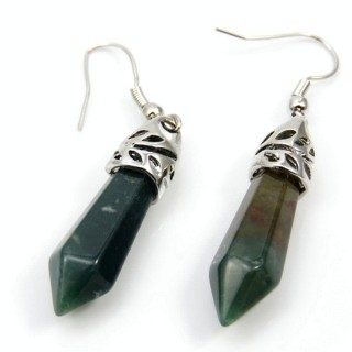 24106-20 INDIAN AGATE FISH HOOK EARRINGS WITH NATURAL STONE