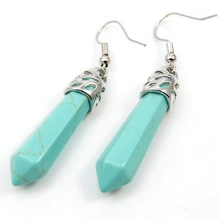 24106-21 TURQUOISE FISH HOOK EARRINGS WITH NATURAL STONE