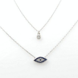 31716 DOUBLE RHODIUM PLATED SILVER 50 CM NECKLACE