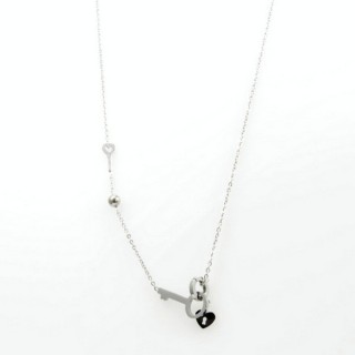 31628 STAINLESS STEEL 45 CM HEART AND KEY NECKLACE