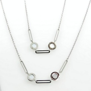 31635 STEEL 75 CM NECKLACE WITH VARIOUS PENDANTS
