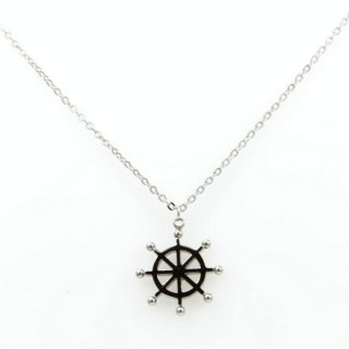 31621 STAINLESS STEEL 40 CM NECKLACE WITH SHIP'S WHEEL