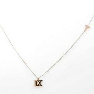 31624 ROMAN NUMERAL 40 CM STEEL NECKLACE IN ROSE GOLD