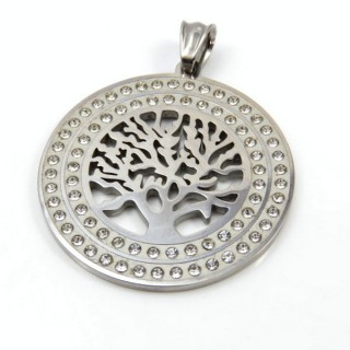 31954-01 TREE OF LIFE STAINLESS STEEL 40 MM PENDANT