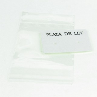 "29101 PACK 100 ""PLATA DE LEY"" DISPLAY CARDS 3 X 4 CM + BAGS"