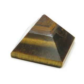 32257-18 TIGER'S EYE NATURAL STONE PYRAMID WITH 2 TO 3 CM BASE