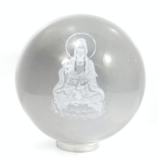 31769-02 60 MM DIAMETER GLASS BALL WITH QUAN YIN IN INTERIOR