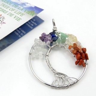 31775-01 METAL 52 MM TREE OF LIFE PENDANT WITH 7 CHAKRA STONES