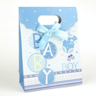 31753-03 CARDBOARD GIFT BAG WITH BOW 17 X 12 X 6 CM