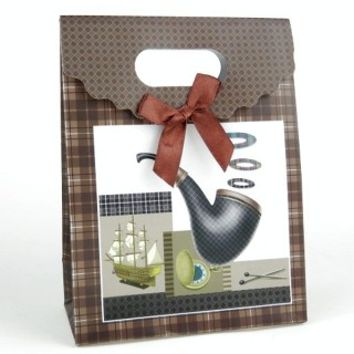 31753-04 CARDBOARD GIFT BAG WITH BOW 17 X 12 X 6 CM
