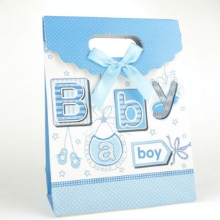 31753-06 CARDBOARD GIFT BAG WITH BOW 17 X 12 X 6 CM