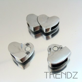 17877 PLATA PACK OF 4 HEART SHAPED MAGNETIC CLASPS