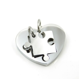 32404-01 HEART SHAPED STAINLESS STEEL 28 MM DOUBLE PENDANT
