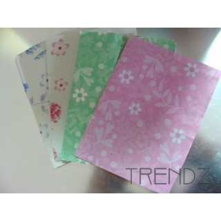 FL32 100 PAPER ENVELOPES FLOWER PRINT 10 X 13 CM