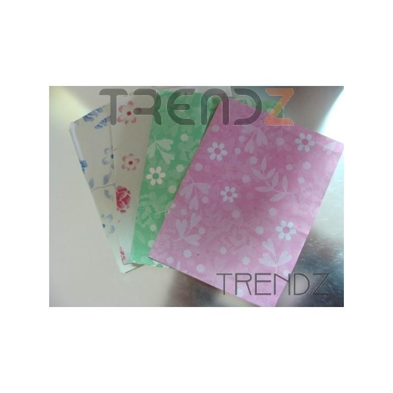 FL32 100 PAPER ENVELOPES FLOWER PRINT 10 X 13 CM