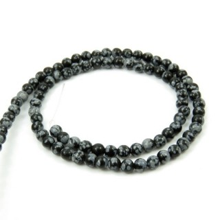 40603 STRING OF 92 BEADS OF 4 MM SNOWFLAKE OBSIDIAN