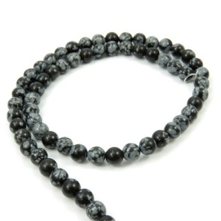 40604 STRING OF 60 BEADS OF 6 MM SNOWFLAKE OBSIDIAN