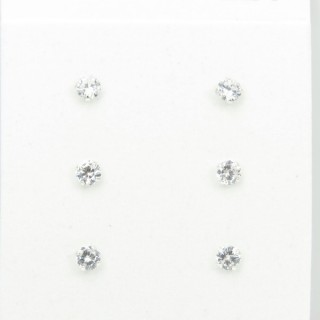 32647 PACK 3 PAIRS OF ROUND 4 MM ZIRCON SILVER EARRINGS